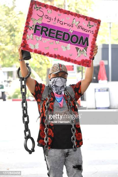 Supporters of Britney Spears end the conservatorship court case attend the #FreeBritney Protest outside Los Angeles Courthouse at Stanley Mosk...