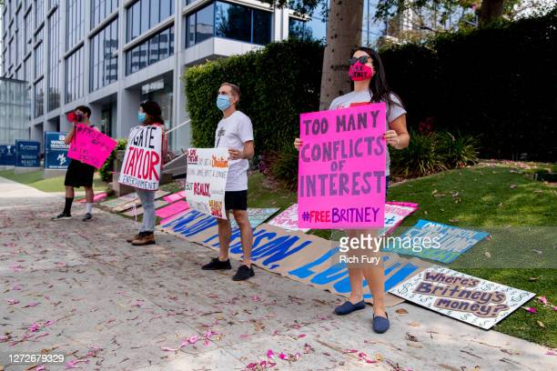 Supporters of Britney Spears hold a #FreeBritney protest outside of the Tri Star Sports Entertainment Group offices on September 15 2020 in West...