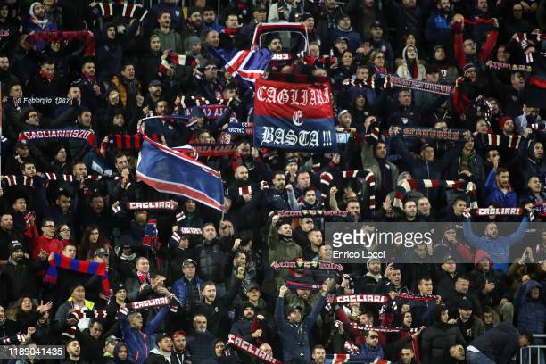 Supporters of Cagliari cheer during the Serie A match between Cagliari Calcio and SS Lazio at Sardegna Arena on December 16 2019 in Cagliari Italy