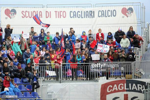 Supporters of Cagliari during the Serie A match between Cagliari and SPAL at Sardegna Arena on April 7 2019 in Cagliari Italy