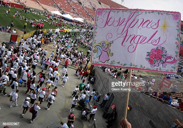 Supporters of cancer survivor Josefina Salazar of Lakeview Terrace were inside the Coliseum awaiting her arrival in the 5k walk at the Entertainment...