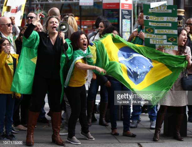 Supporters of candidate Jair Bolsonaro of the Social Liberal Party in Brazil's general election outside the Embassy of Brazil in London