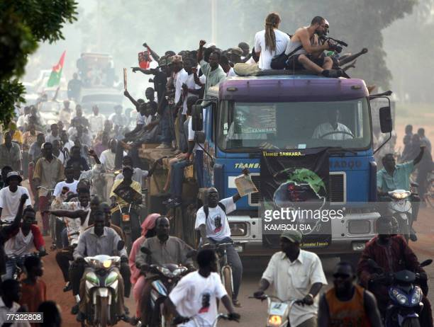 Supporters of Capitain Thomas Sankara assassinated 15 October 1987 process 14 October 2007 in Ouagadougou on the 20th anniversary of his...