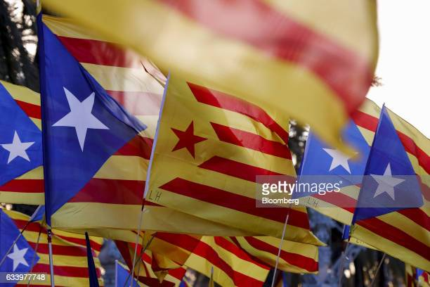 Supporters of Catalan independence wave flags during a demonstration called by the Catalan National Assembly outside the Catalan high court in...