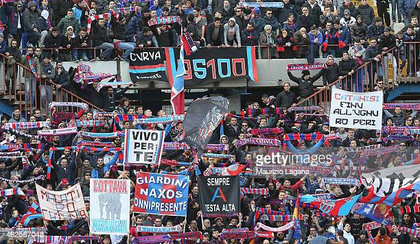 Supporters of Catania are seen during the Serie B match between Calcio Catania and AC Perugia at Stadio Angelo Massimino on January 31, 2015 in...