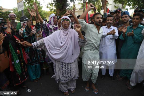 Supporters of Chairman of Pakistan Peoples Party Bilawal Bhutto dance as they gather during an election campaign rally In Karachi on July 20 2018...