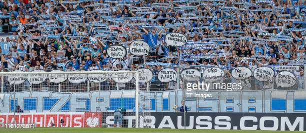 Supporters of Chemnitzer FC are seen prior to the DFB Cup first round match between Chemnitzer FC and Hamburger SV at Stadion an der Gellertstrasse...