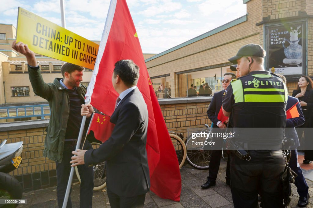 Protests Take Place As The Chinese Prime Minister Visits The Hague : News Photo