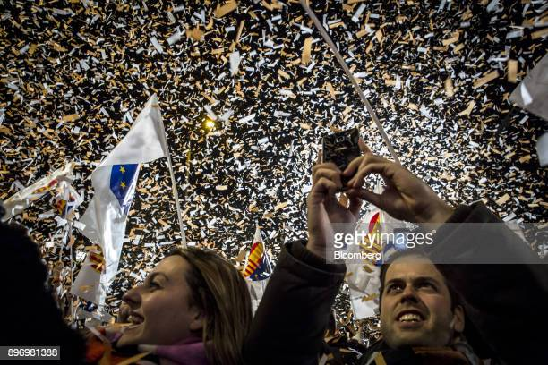 Supporters of Ciudadanos celebrate electoral victory in Barcelona Spain on Thursday Dec 21 2017 An election in Catalonia Dec 21 gives voters another...