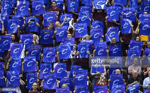 Supporters of Cleveland Cavaliers cheer up during Game Four of the 2015 NBA Finals between the Golden State Warriors and the Cleveland Cavaliers at...