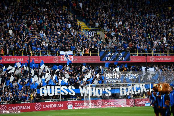 Supporters of Club Bruggesupporting their team during the Jupiler Pro League match between Club Brugge and Beerschot VA at the Jan Breydel stadium on...
