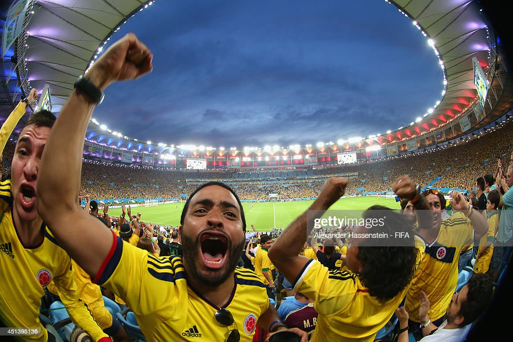 Supporters of Colombia celebrate her team's first goal during the 2014 FIFA World Cup Brazil round of 16 match between Colombia and Uruguay at Maracana on June 28, 2014 in Rio de Janeiro, Brazil.