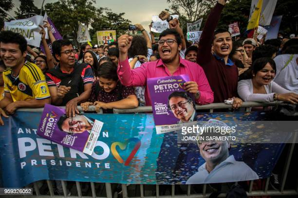 Supporters of Colombian presidential candidate Gustavo Petro from the Colombia Humana party, attend a campaign rally in Medellin, Colombia, on May...