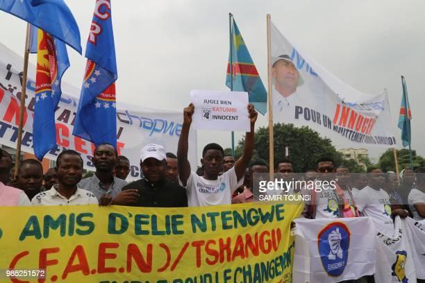Supporters of Congolese opposition figure Moises Katumbi demonstrate in Kinshasa on June 27 2018 in front of the Supreme Court Dozens of legislators...