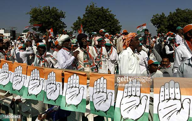 Supporters of Congress party during Congress General Secretary Rahul Gandhi's election campaign on December 11 2012 in Sanand India Making his first...