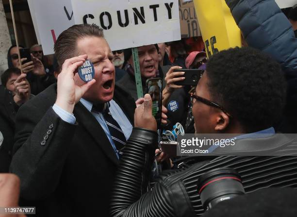 Supporters of Cook County State's Attorney Kim Foxx argue with protestors during a demonstration organized by the Fraternal Order of Police to call...