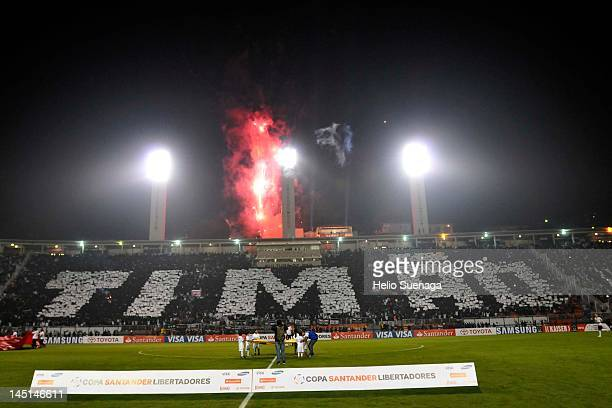 Supporters of Corinthians before the game during a match between Corinthians of Vasco da Gama as part of quarterfinals Santander Libertadores Cup...