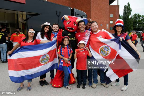 supporters of Costa Rica during the International Friendly match between Belgium v Costa Rica at the Koning Boudewijnstadion on June 11 2018 in...