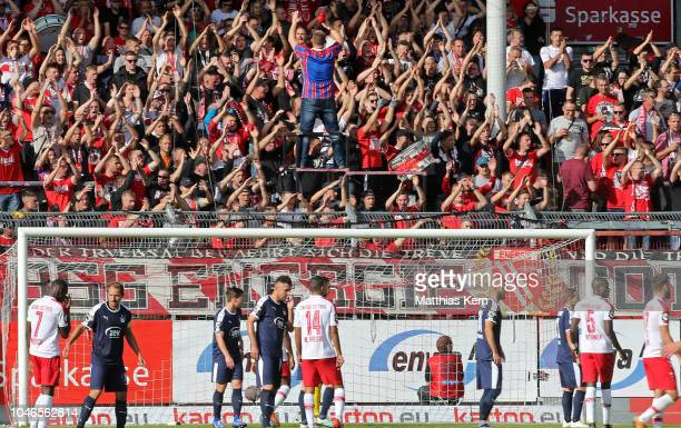 Supporters of Cottbus are pictured during the 3. Liga match between FC Energie Cottbus and FSV Zwickau at Stadion der Freundschaft on October 6, 2018...