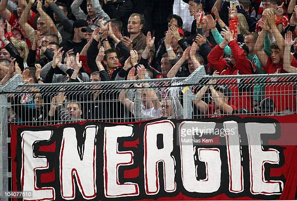 Supporters of Cottbus are seen during the Second Bundesliga match between FC Energie Cottbus and Karlsruher SC at Stadion der Freundschaft on...
