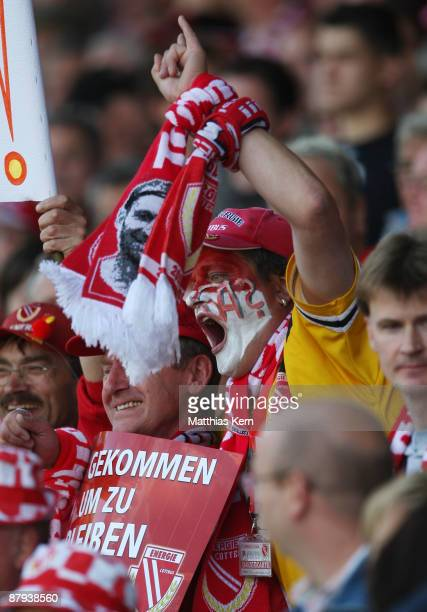 Supporters of Cottbus are seen prior to the Bundesliga match between FC Energie Cottbus and Bayer 04 Leverkusen at the Stadion der Freundschaft on...