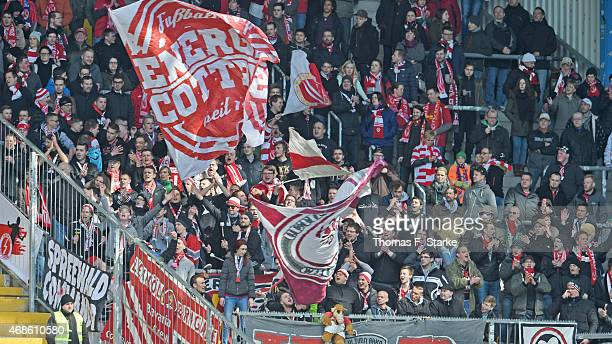 Supporters of Cottbus cheer their team during the Third League match between Arminia Bielefeld and Energie Cottbus at Schueco Arena on April 4 2015...