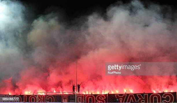 Supporters of Crotone during the Serie A match between FC Crotone and SS Lazio at Stadio Comunale Ezio Scida on May 28 2017 in Crotone Italy