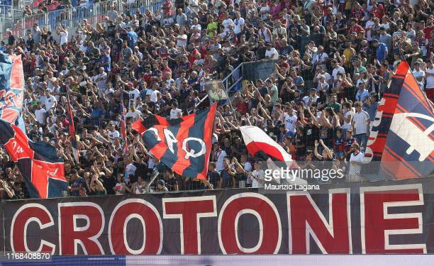 Supporters of Crotone ll with Antonino Lagumina of Empoli during Serie B match between Crotone FC and Empoli FC at Stadio Comunale Ezio Scida on...
