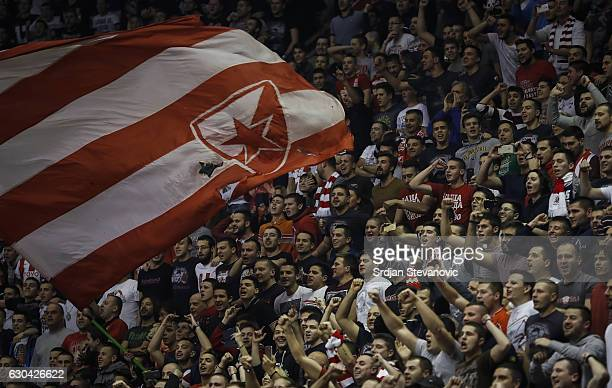 Supporters of Crvena Zvezda cheer their club during the 2016/2017 Turkish Airlines EuroLeague Regular Season Round 14 game between Crvena Zvezda MTS...