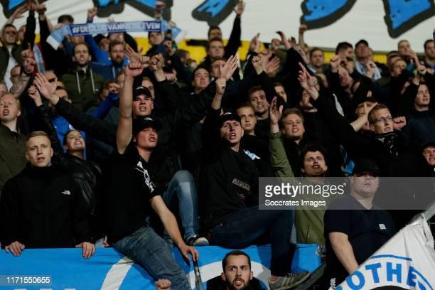 Supporters of De Graafschap during the Dutch Keuken Kampioen Divisie match between Roda JC v De Graafschap at the Parkstad Limburg Stadium on...
