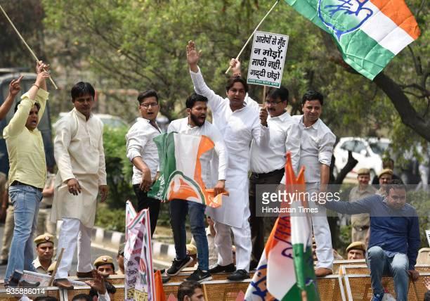 Supporters of Delhi Pradesh Congress protesting against Delhi CM Arvind Kejriwal on his apology to former Minister of Punjab Bikramjit Singh at Civil...