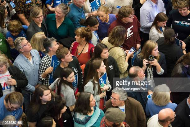 RICHMOND KENTUCKY USA NOVEMBER 6 2018 Supporters of Democratic Candidate Amy McGrath await election returns at Eastern Kentucky University's Center...