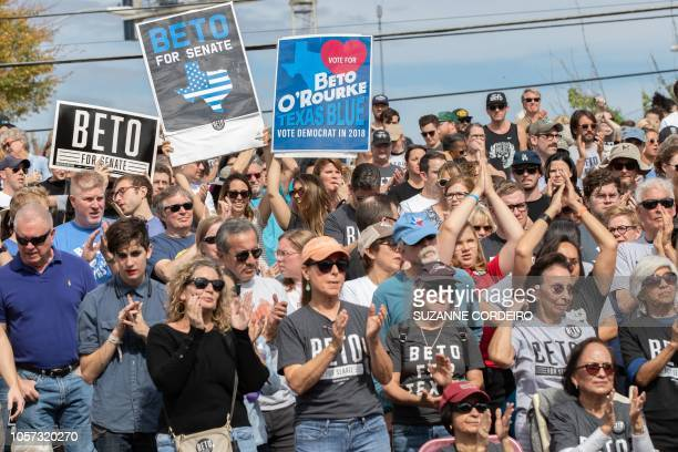 Supporters of Democratic candidate for the US Senate Beto ORourke attend his last public event in Austin before election night at the Pan American...