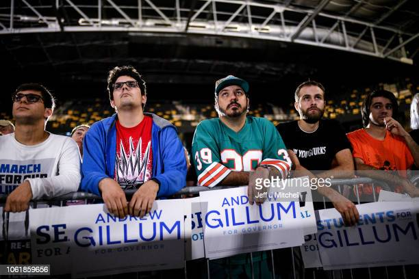 Supporters of Democratic gubernatorial candidate Andrew Gillum attend a Get Out the Vote Rally at the University of Central Florida CFE Arena on...