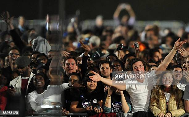 Supporters of Democratic presidential candidate Barack Obama cheer as they arrive at Grant Park on election day November 4 2008 in Chicago where...