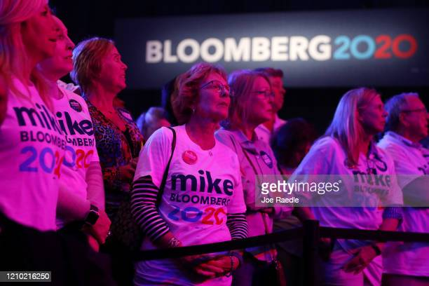 Supporters of democratic presidential candidate former New York City Mayor Mike Bloomberg attend his Super Tuesday night event on March 03 2020 in...