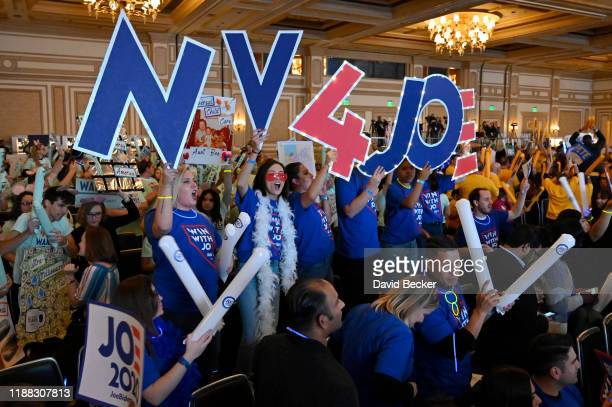 Supporters of Democratic presidential candidate former US Vice President Joe Biden cheer during the Nevada Democrats' First in the West event at...