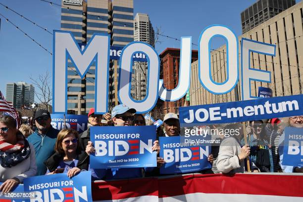 Supporters of Democratic presidential candidate, former Vice President Joe Biden wait for his arrival at a campaign rally at Kiener Plaza on March 7,...