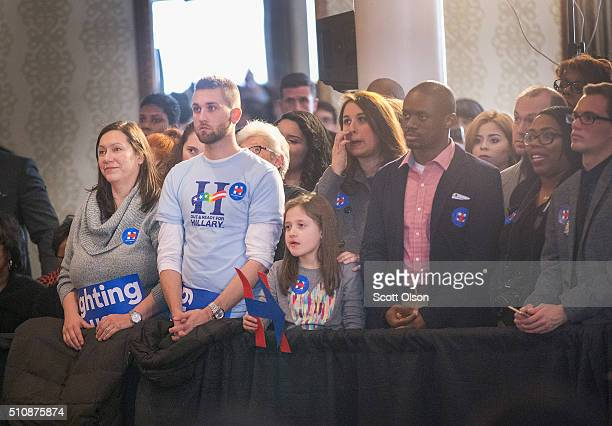 Supporters of Democratic presidential candidate Hillary Clinton listen as she speaks at a campaign rally in the historic Bronzeville neighborhood on...