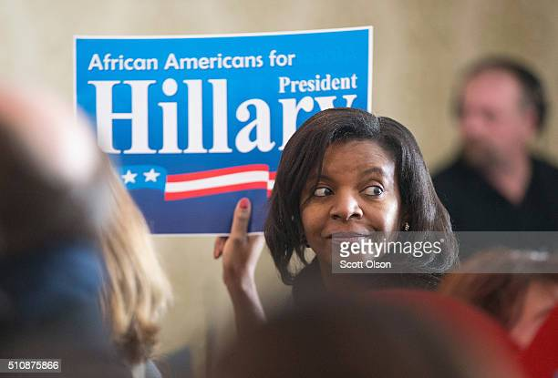 Supporters of Democratic presidential candidate Hillary Clinton wait for her arrival at a campaign rally in the historic Bronzeville neighborhood on...