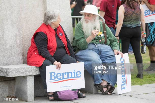 Supporters of Democratic presidential candidate Sen. Bernie Sanders during a rally in the capital of his home state of Vermont on May 25, 2019 in...