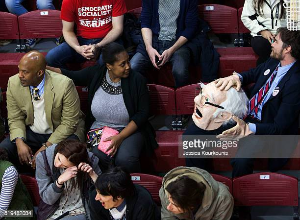 Supporters of Democratic presidential candidate Sen Bernie Sanders at a rally at Temple University on April 6 2016 in Philadelphia Pennsylvania The...