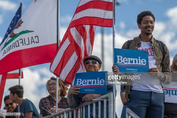 Supporters of Democratic presidential candidate Sen Bernie Sanders attend his Get Out the Early Vote rally at Valley High School on February 21 2020...