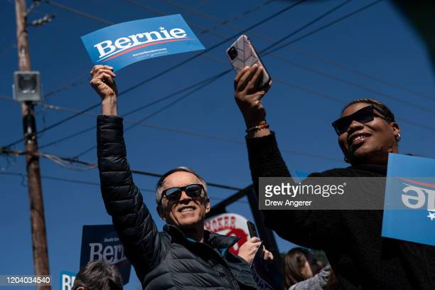 Supporters of Democratic presidential candidate Sen Bernie Sanders cheer before the arrival of Sanders at a campaign rally on February 28 2020 in...