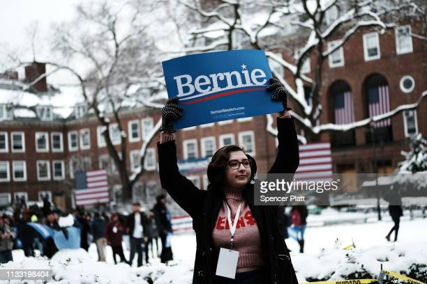 Supporters of Democratic Presidential candidate Senator Bernie Sanders rally before he speaks at Brooklyn College on March 02 2019 in New York City...