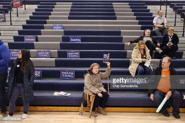 Supporters of Democratic presidential candidate Tom Steyer prepare to caucus at Roosevelt High School February 03 2020 in Des Moines Iowa Iowa is the...