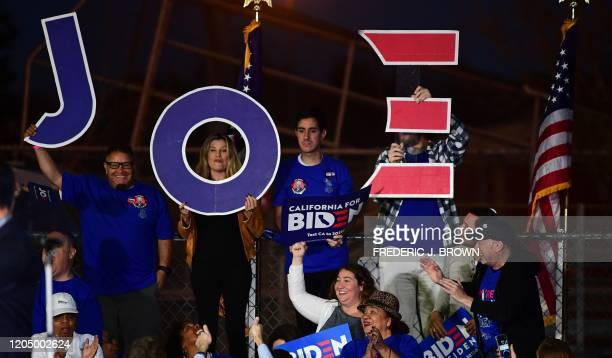 Supporters of Democratic presidential hopeful former Vice President Joe Biden await his arrival for a Super Tuesday event in Los Angeles on March 3,...