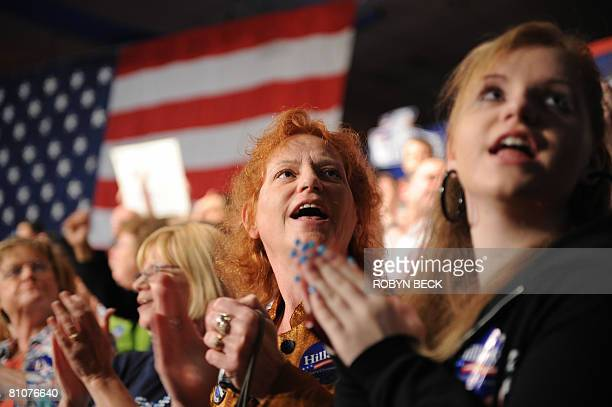 Supporters of Democratic presidential hopeful New York Senator Hillary Rodham Clinton react as they watch election results at Clinton's primary...