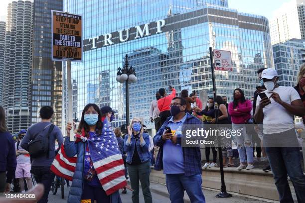 Supporters of Democratic presidential nominee Joe Biden celebrate downtown near Trump Tower after several major news outlets declared Biden the...