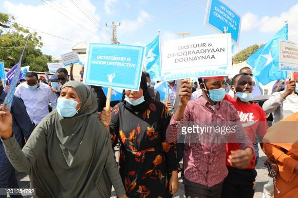 Supporters of different opposition presidential candidates demonstrate in Mogadishu on February 19, 2021. - Somalia missed a deadline to hold an...
